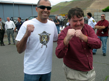 UFC legend Royce Gracie posed for a photo with Brian Woodman Jr. in 2009