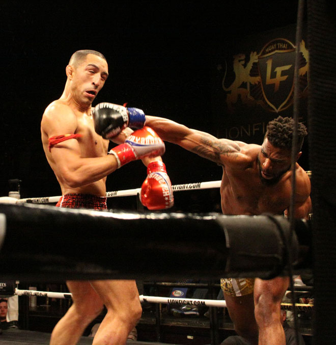 Scott Nobles drills Chip Moraza-Pollard on March 3 at Lion Fight 35.