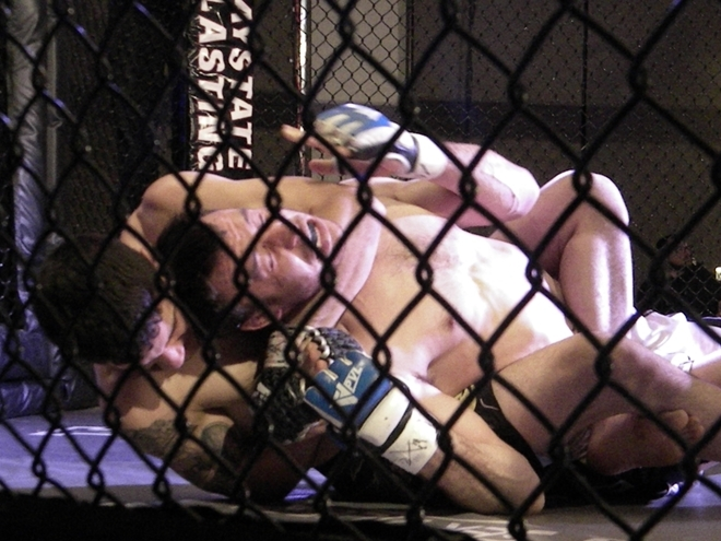 Nick Fiori chokes Charles Bonar on March 11 at Premier FC 22 in Agawam, MA