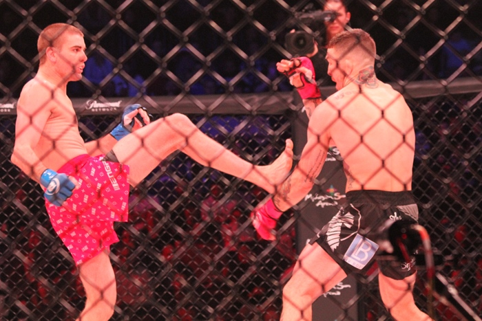 Cody Jones throws a kick at Austin Vanderford during a catchweight battle on Feb. 15 at Mohegan Sun Arena.