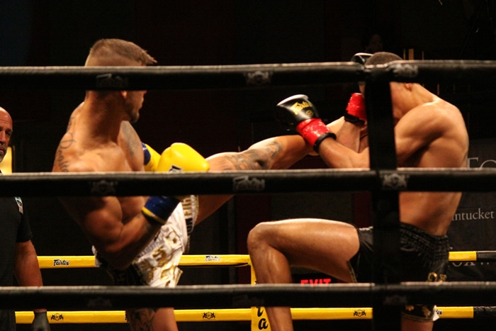 Matous Kohout, left, and Regian Eersel during the main event at Lion Fight 38