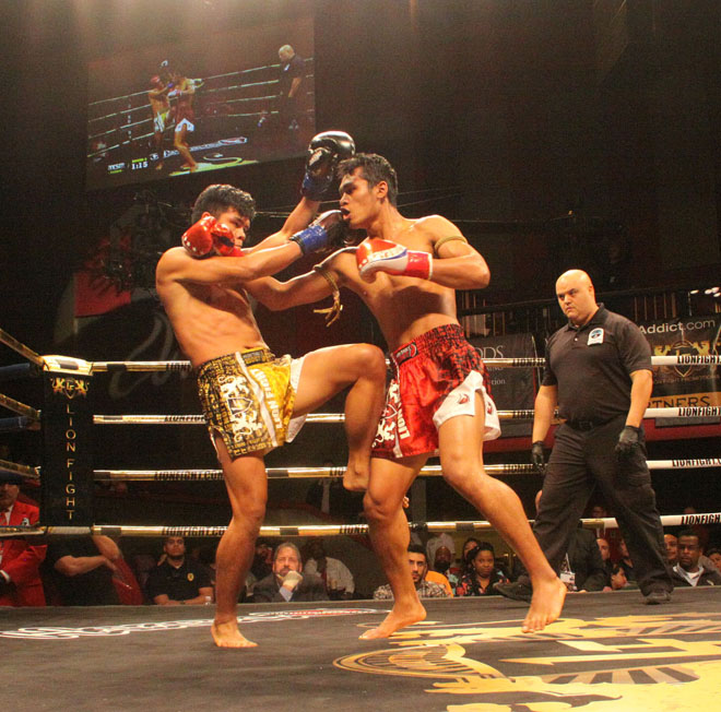 Kengsiam, left, battles Jo Nattawutt during the main event of Lion Fight 35 on March 3