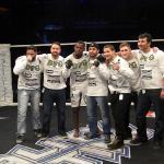 Terrell Clark, center, celebrates on Jan. 2 at Reality Fighting in the Mohegan Sun Arena.