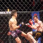Mathew Lozano, purple trunks, versus Johnny Campbell at CES MMA 34.
