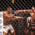 Nah-Shon Burrell, left, versus Chris Curtis at CES MMA 34 on April 1.