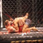 Lorawnt-T Nelson, red trunks, versus Leon Davis at CES MMA 34.
